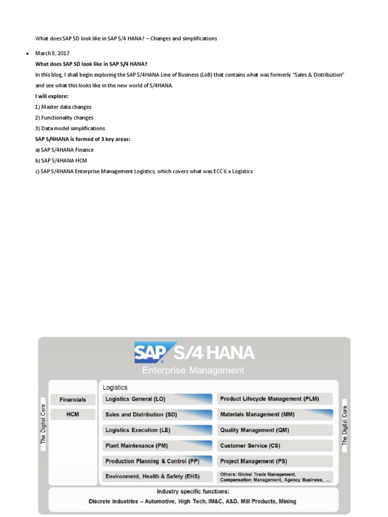 What Does SAP SD Look Like in SAP S4 hana | Business ...