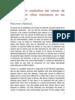 Investigación Explicativa Del Cáncer de Leucemia en Niños Mexicanos en Los Últimos Años.