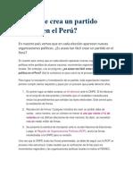 Cómo Se Crea Un Partido Político en El Perú