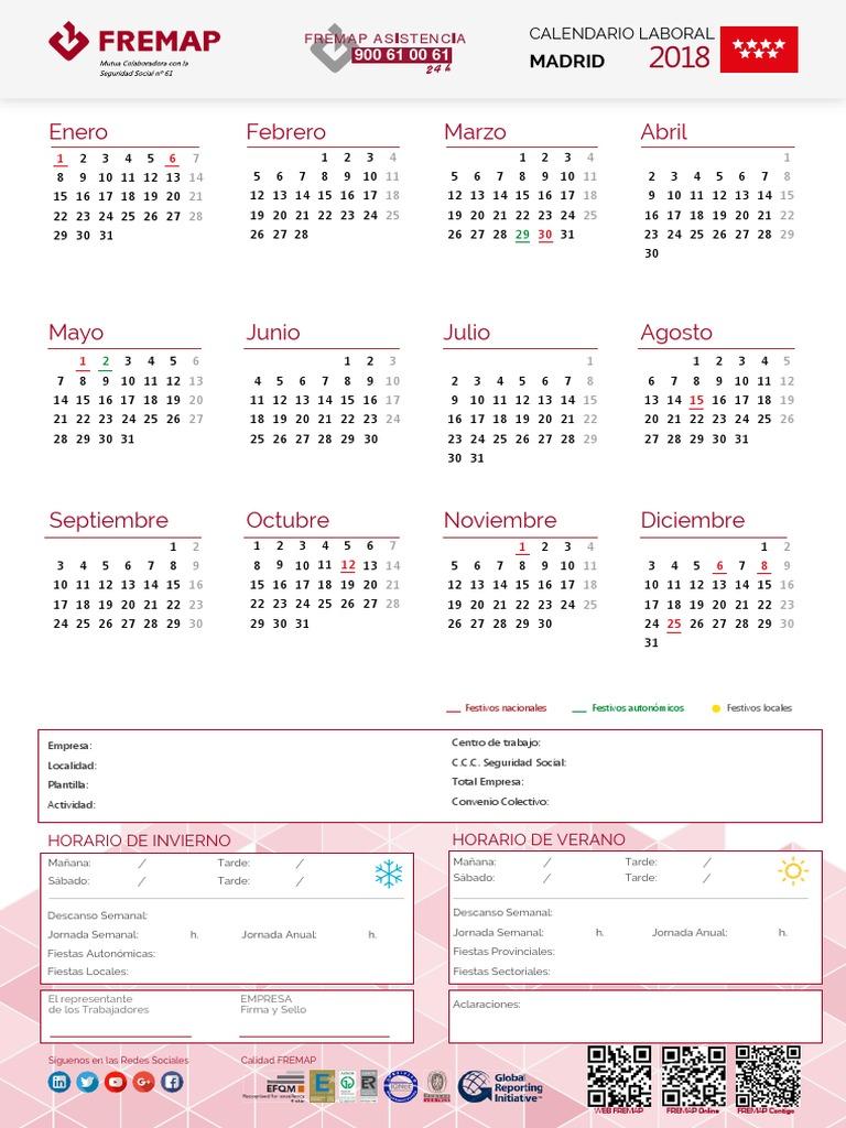 Seg Social Calendario Laboral.Calendario Laboral Comunidad Madrid 2018