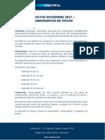 Productos Noviembre 2017 - Recubrimientos en Teflón