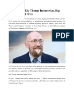 Kip Thorne, Kip Thorne Interstellar, Kip Thorne Nobel Prize