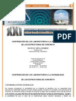 Contribución de Los Laboratorios a La Durabilidad de Las Estructuras de Concreto