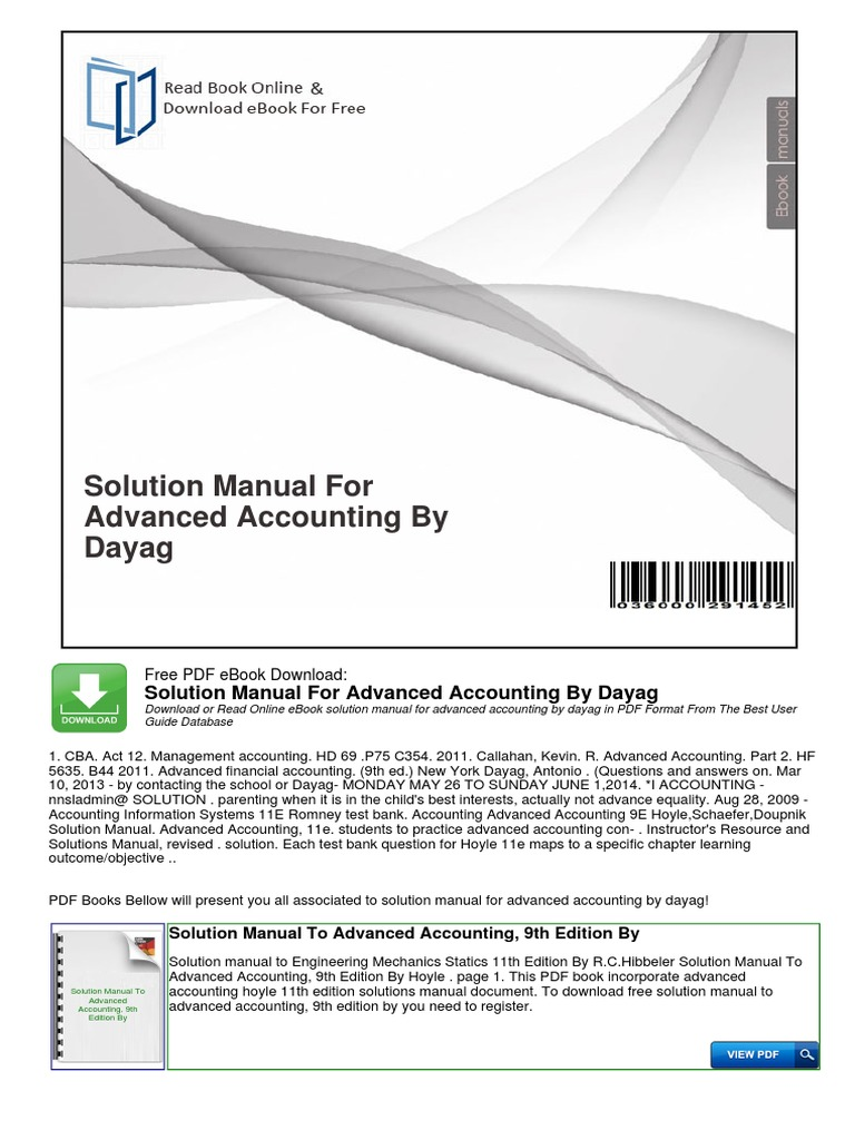 Solution manual for advanced accounting by dayag management solution manual for advanced accounting by dayag management accounting accounting fandeluxe Images