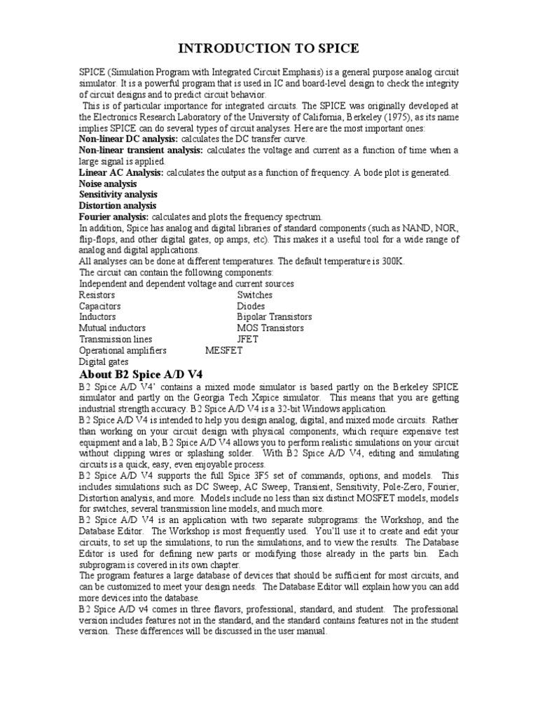 ELECTRONIC CIRCUIT ANALYSIS (ECA) Lab Manual | Spice | Computer Engineering