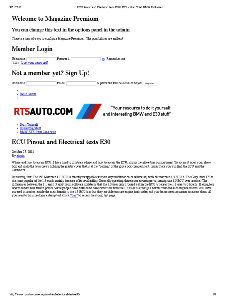 Ecu Pinout And Electrical Tests E30 Fuel Injection Automotive