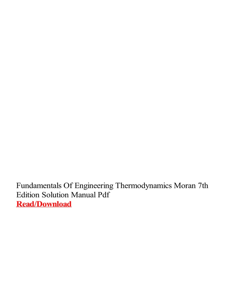 Of thermodynamics manual fundamentals 7th pdf solution edition