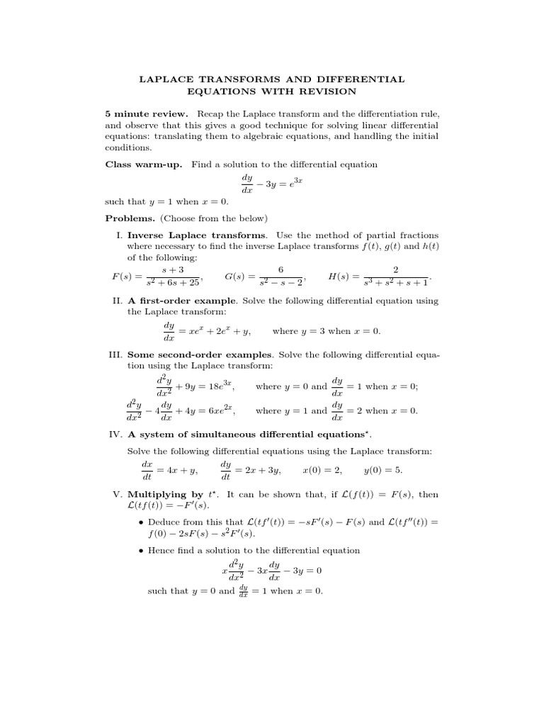 11 Laplace Transforms for Differential Equations and Revision
