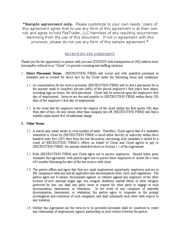 Fee Trader Fee Agreement Discrimination Employment