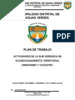 Plan de Trabajo Sub Gerencia de Acondicionamiento Territorial General