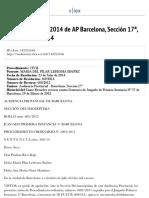 Sentencia nº 369:2014 de AP Barcelona, Sección 17ª, 23 de Julio de 2014 - DESFAVORABLE