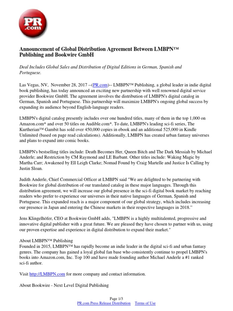 Announcement of global distribution agreement between lmbpn announcement of global distribution agreement between lmbpn publishing and bookwire gmbh amazon publishing platinumwayz