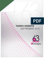 Revista Estampas, Tarifas Vigentes, Sep 2016