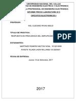 RESPUESTA EN FRECUENCIA DEL AMPLIFICADOR EN BASE COMÚ
