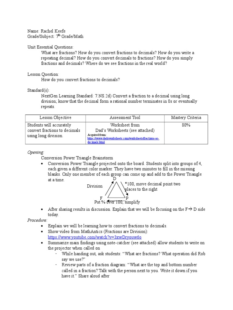 Lesson Plan Fraction Mathematics Decimal