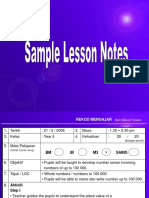Sample Lesson Notes