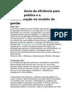 A Importância Da Eficiência Para a Gestão Pública e a Transformação No Modelo de Gestão