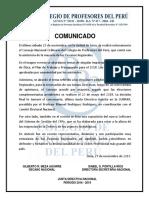 COMUNICADO SOBRE CONSEJO NACIONAL DEL CPPe