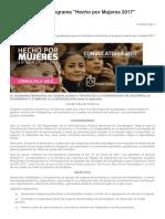 Convocatoria Al Programa Hecho Por Mujeres 2017