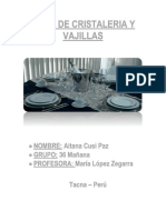 Tipos de Cristaleria y Vajillas