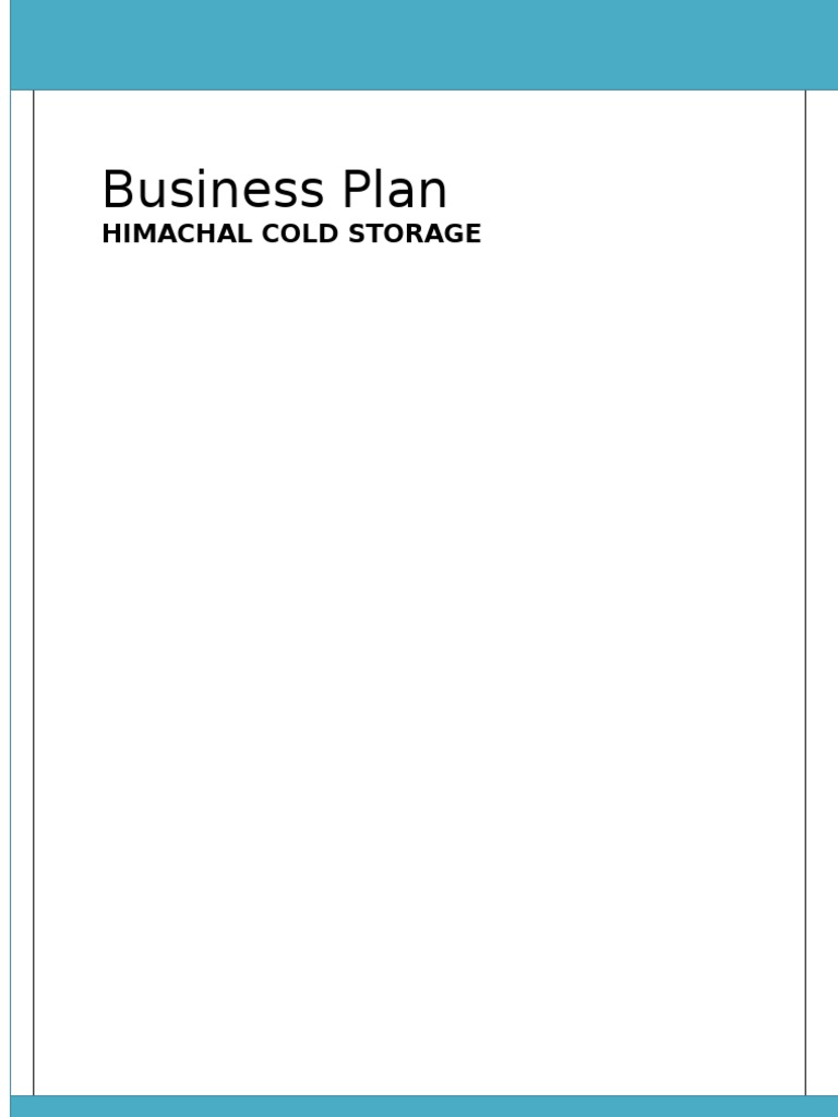 Cold storage business plan