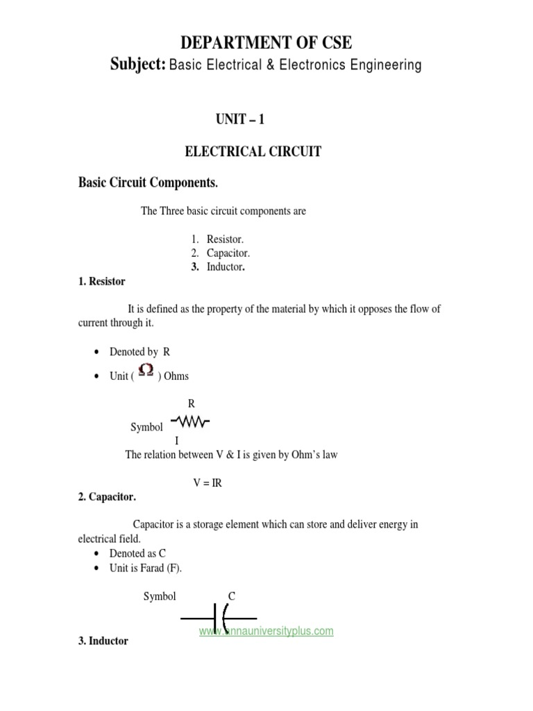 Lecture Notes Basic Electrical And Electronics Engineering Notespdf Use Of Inductor In A Circuit Capacitor