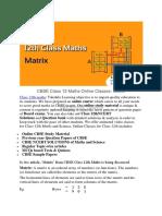 CBSE Class 12 Maths Online Classes- Matrix