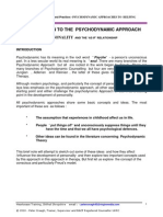Introduction to the Psycho Dynamic Approach :- Personality, Defences and Transference