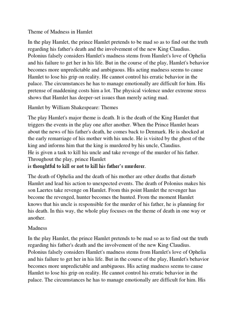 cause and effect essay hamlet act 4