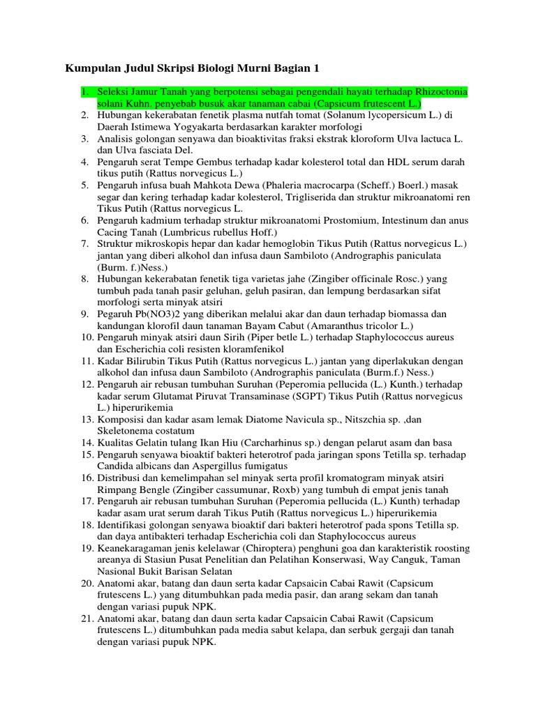 Kumpulan Judul Skripsi Biologi Murni Bagian 1 Docx
