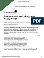 Do Customer Loyalty Programs Really Work
