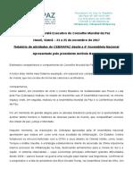 Relatório do Cebrapaz e contributo oo Presidente Antônio Barreto - Comitê Executivo do Conselho Mundial da Paz 2017
