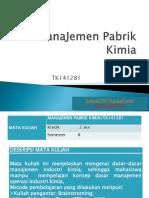 MPK - 1 - Pengantar Managemen Pabrik Kimia