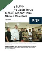 Holding BUMN Tambang Jalan Terus Meski Freeport Tolak Skema Divestasi