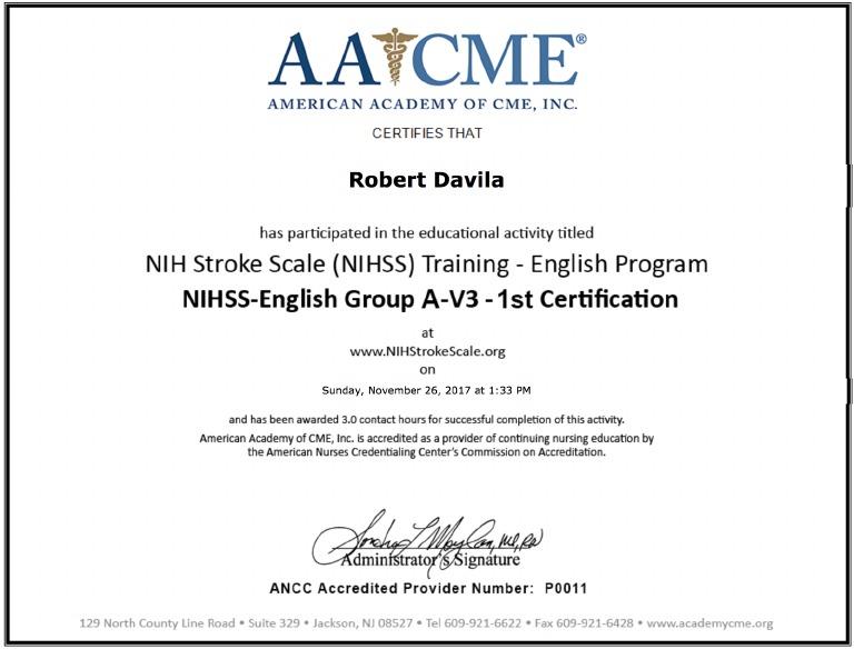 stroke certification scale nih