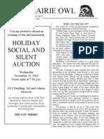 November-December 2003 Prairie Owl Newsletter Palouse Audubon Society