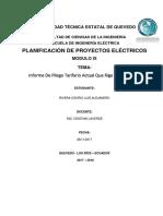 Informe de Pliego Tarifario Actual Que Rige en El Ecuador