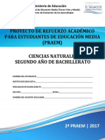 Segunda Prueba de Avance Ciencias Naturales Segundo Año de Bachillerato - PRAEM 2017