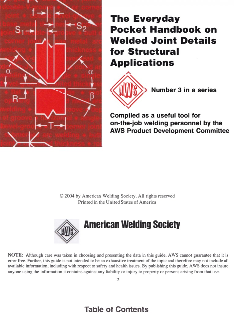 Aws The Every Pocket Handbook On Welded Joint Details For Strucural Welding Diagram Applications Pascal Unit Materials