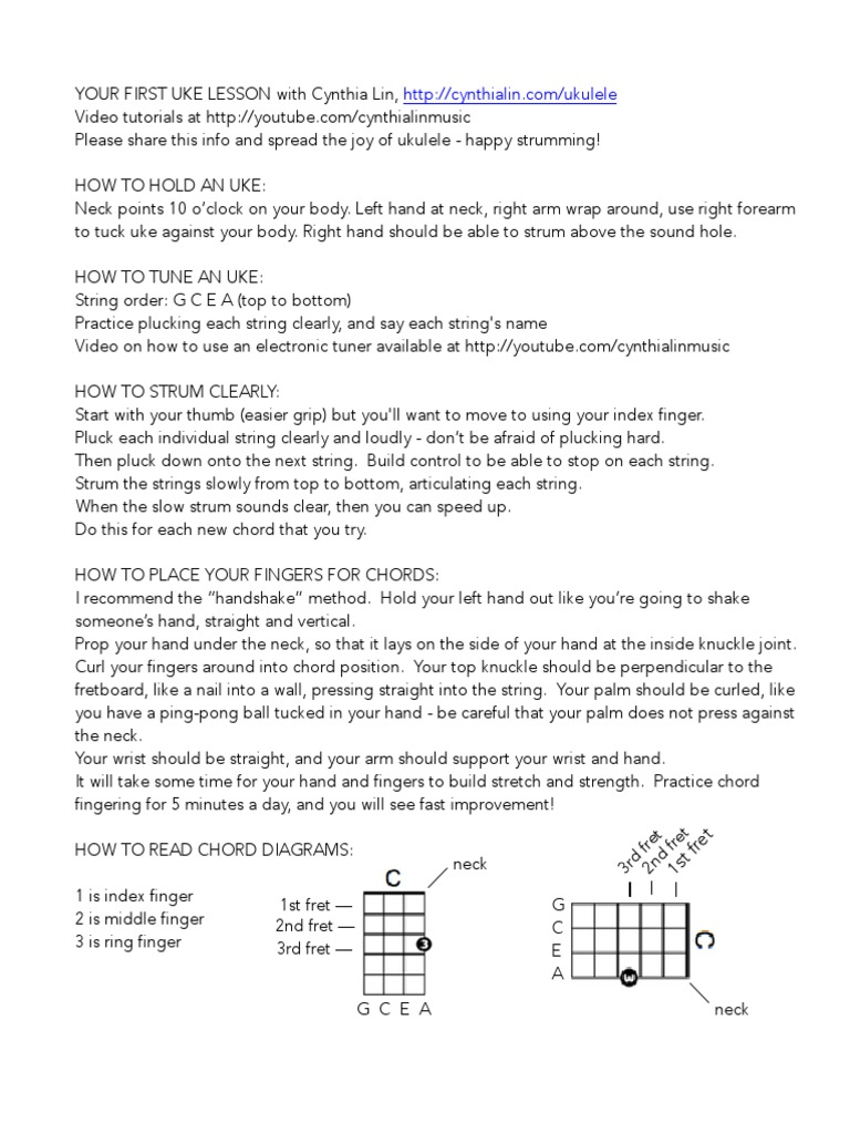 Your First Uke Lesson Three Little Birds Chord Chart String Ukulele Diagram Instruments Hand