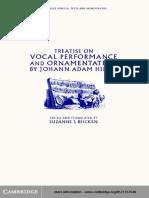 Hiller, Johann Adam (Beicken, Suzanne, Ed) - Vocal Performance and Ornamentation