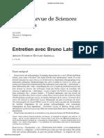 Entretien Avec Bruno Latour