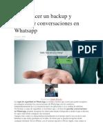 Cómo Hacer Un Backup y Recuperar Conversaciones en Whatsapp