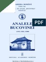 13-1. Analele Bucovinei, an XIII, nr. 1 (2006)