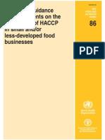 FAO WHO HACCP en Los Alimentos Pequeños y o Menos Desarrolladas