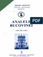 19-1. Analele Bucovinei, an XIX, nr. 1 (2012)