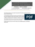 Eaton County Statement Regarding  11/28/17 Shooting