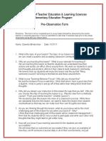 db pre observation form