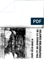 Balance Bibliografico de La Ciudad de La Paz