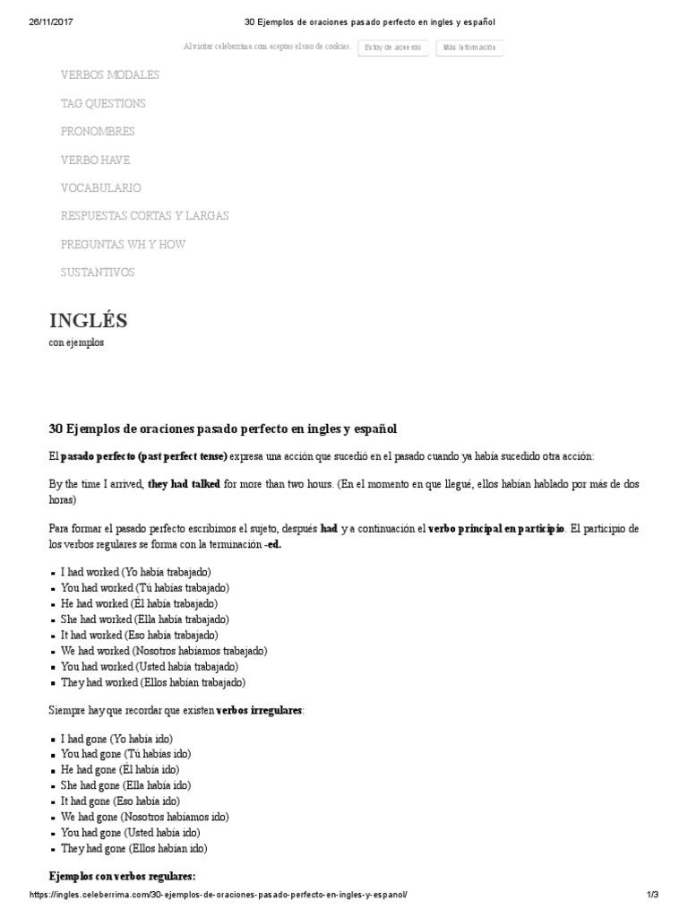 30 Ejemplos de oraciones pasado perfecto en ingles y español.pdf   Verbo    Tipología Lingüística